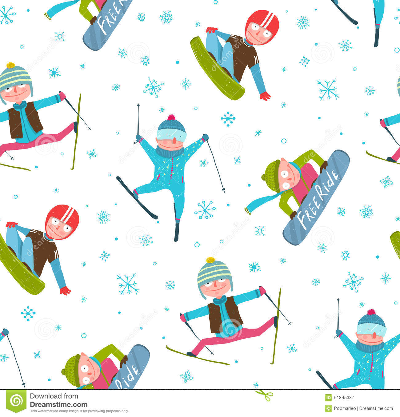 Skier Snowboarder Winter Sport Cartoon Seamless Stock