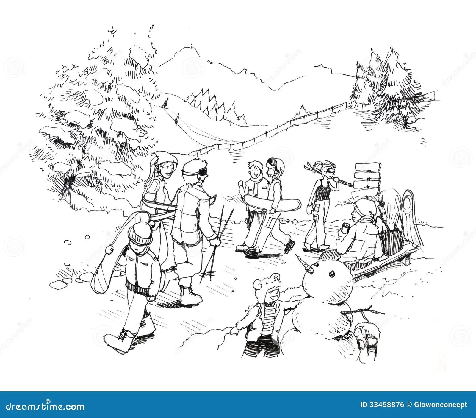 Skigondel In Der Winterschnee Karikaturzeichnung Stockfoto