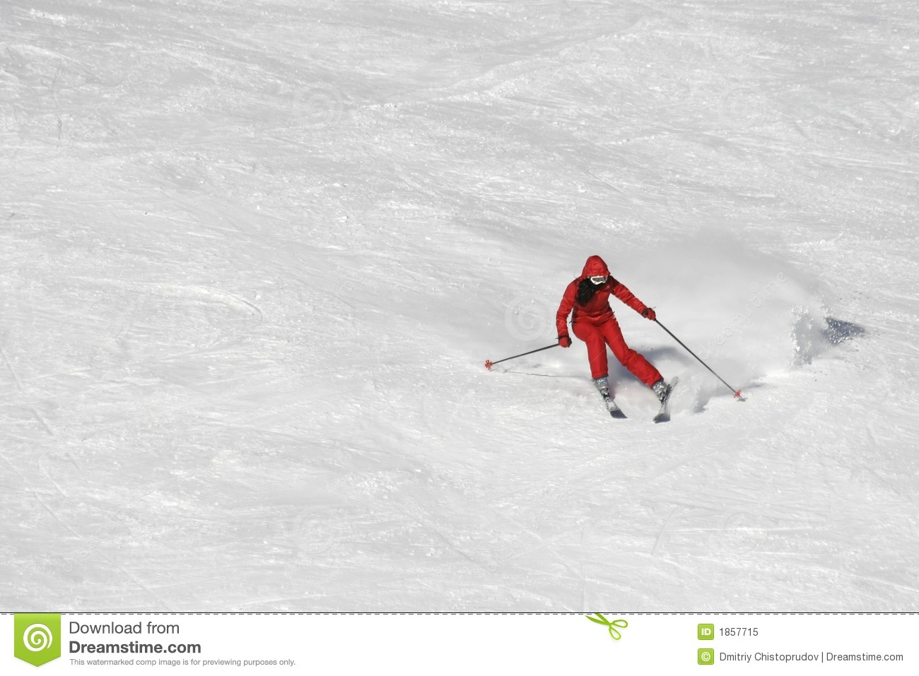Skiing In Red Royalty Free Stock Photo
