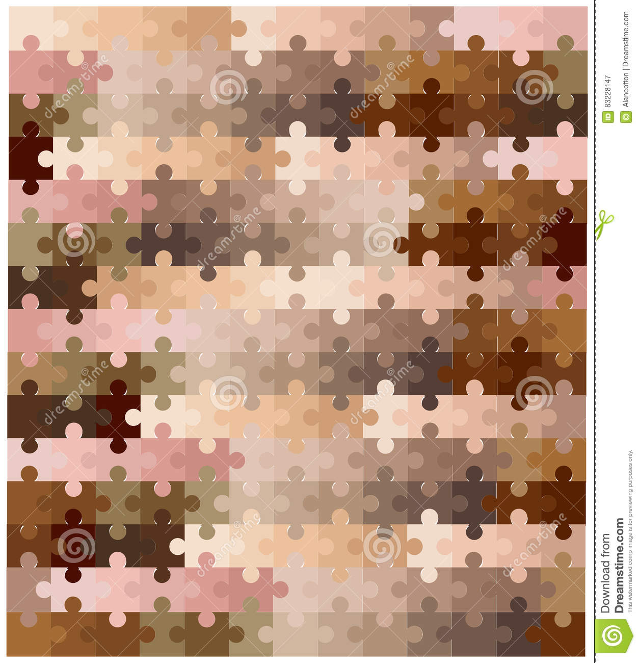 Skin Tone Jigsaw Pieces Stock Vector Illustration Of