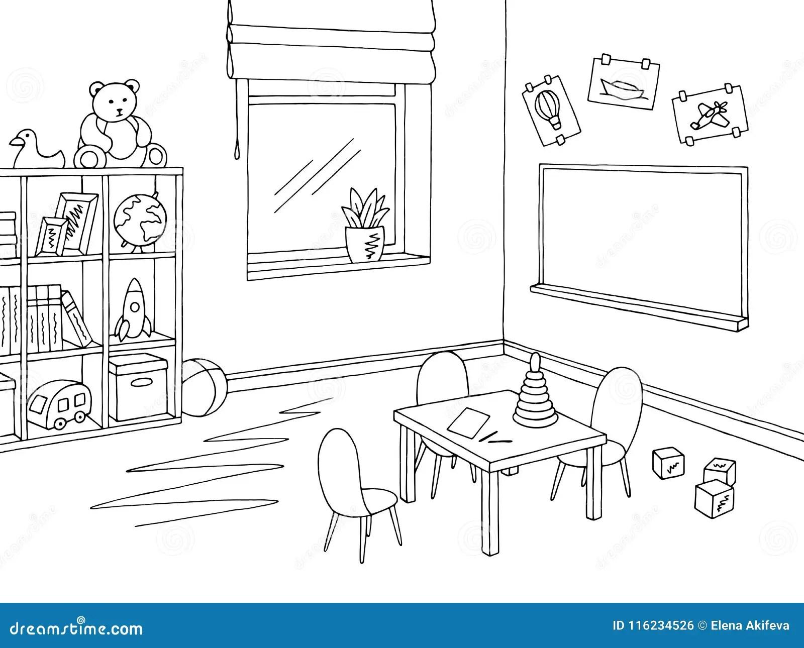Skissar Den Vita Inre For Forskole Klassrumdiagramsvart Illustrationvektorn Vektor