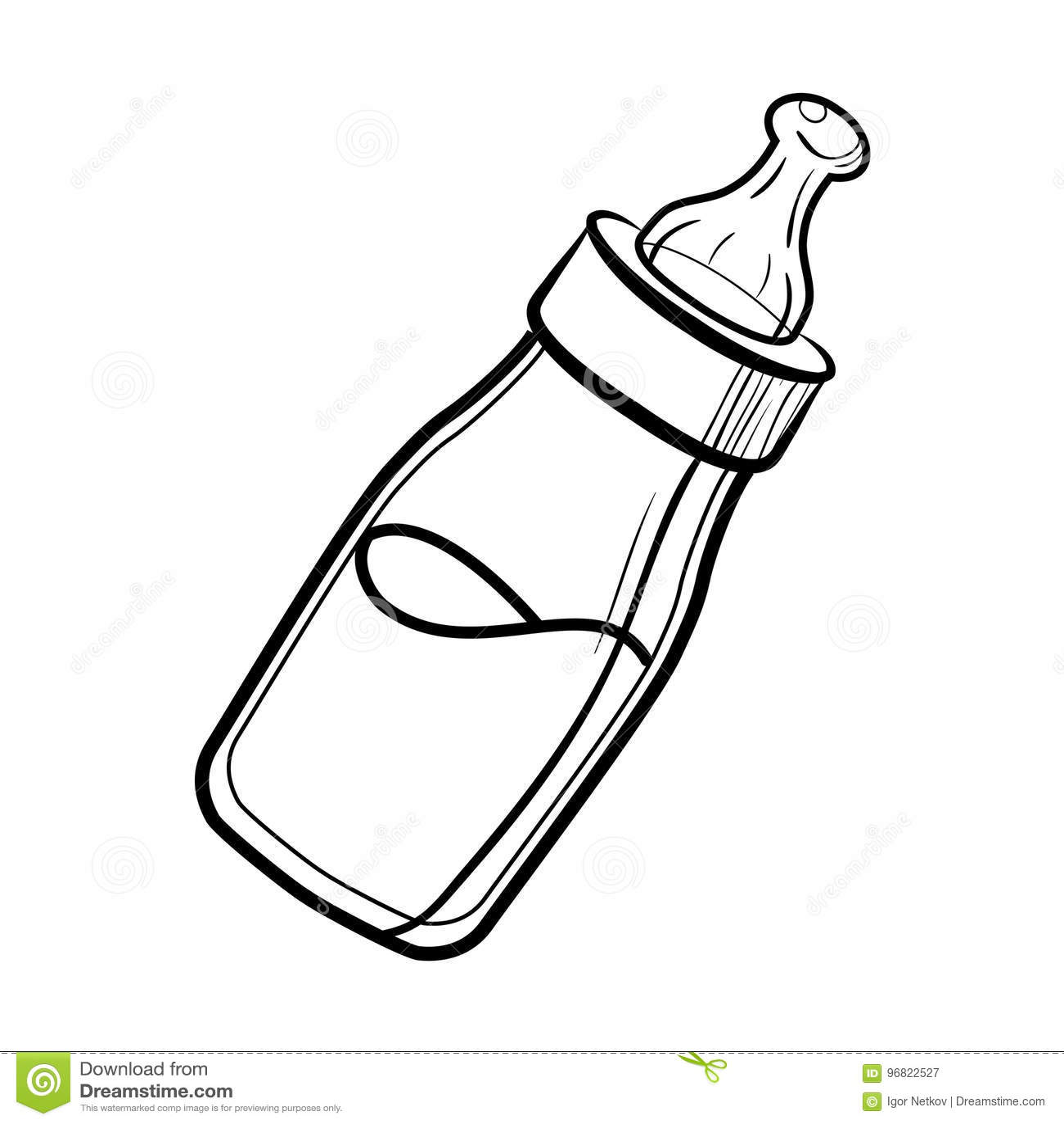 Skizzen Babyflasche Vektor Abbildung Illustration Von