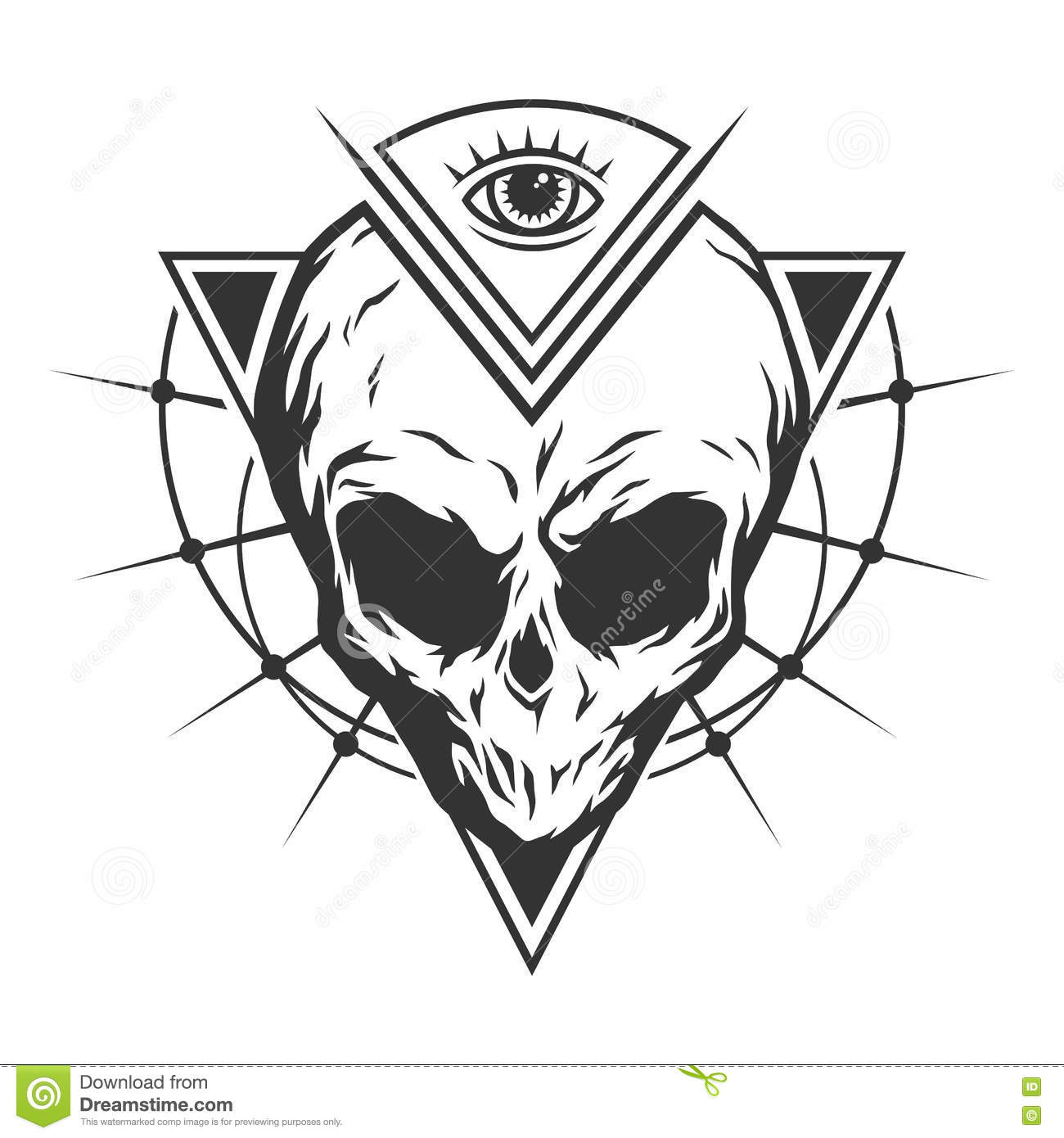 The Skull Is An Alien And All Seeing Eye Stock Vector