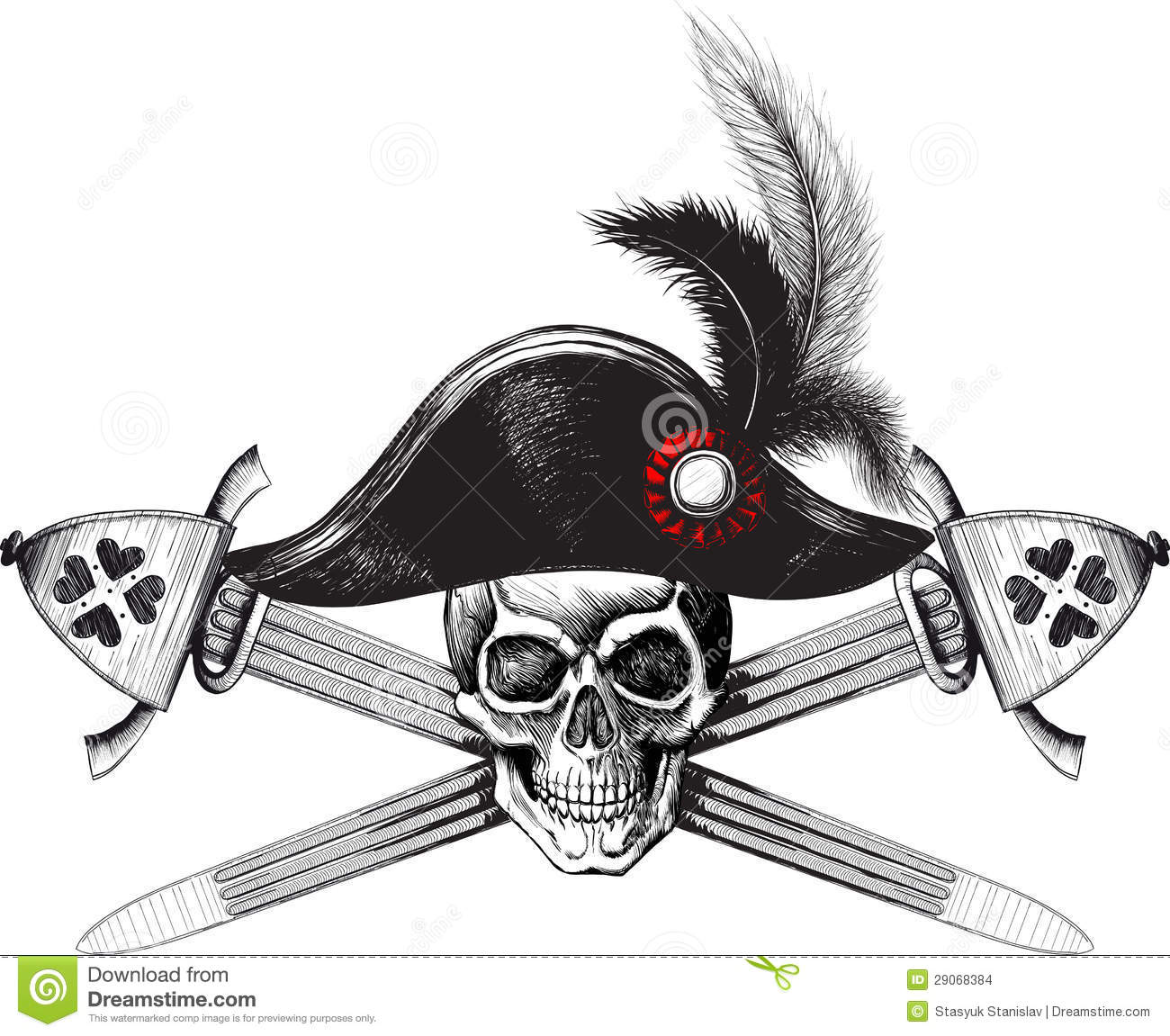 Skull In The Captain Hat And Two Crossed Swords Stock