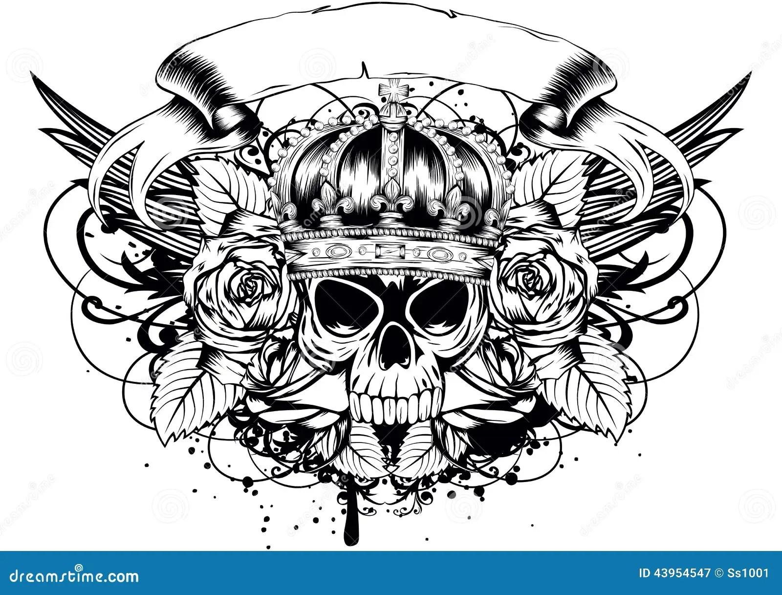 Skull Corona Roses Stock Vector