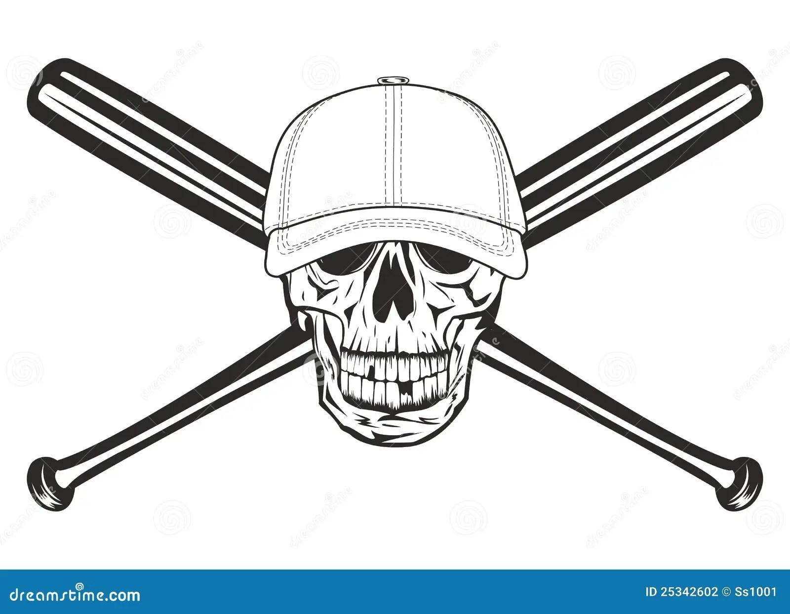 Skull And Crossed Bats Stock Vector Illustration Of