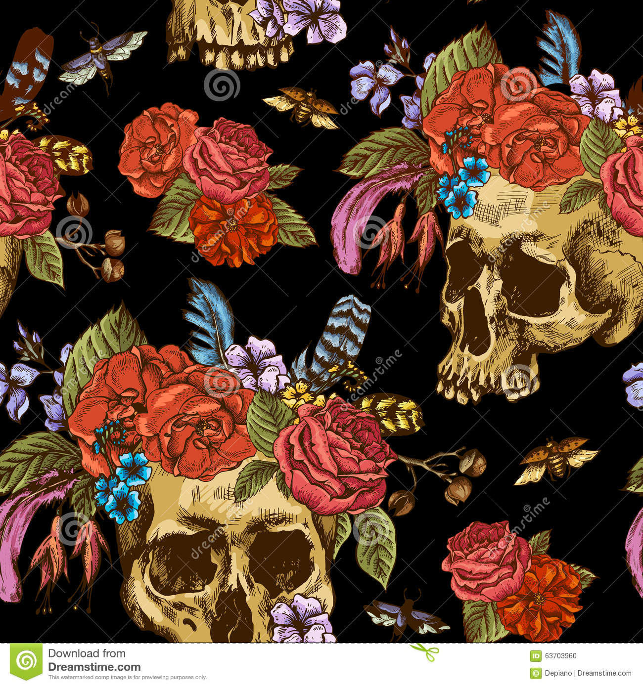 Dead Flowers Tumblr Background Seamless