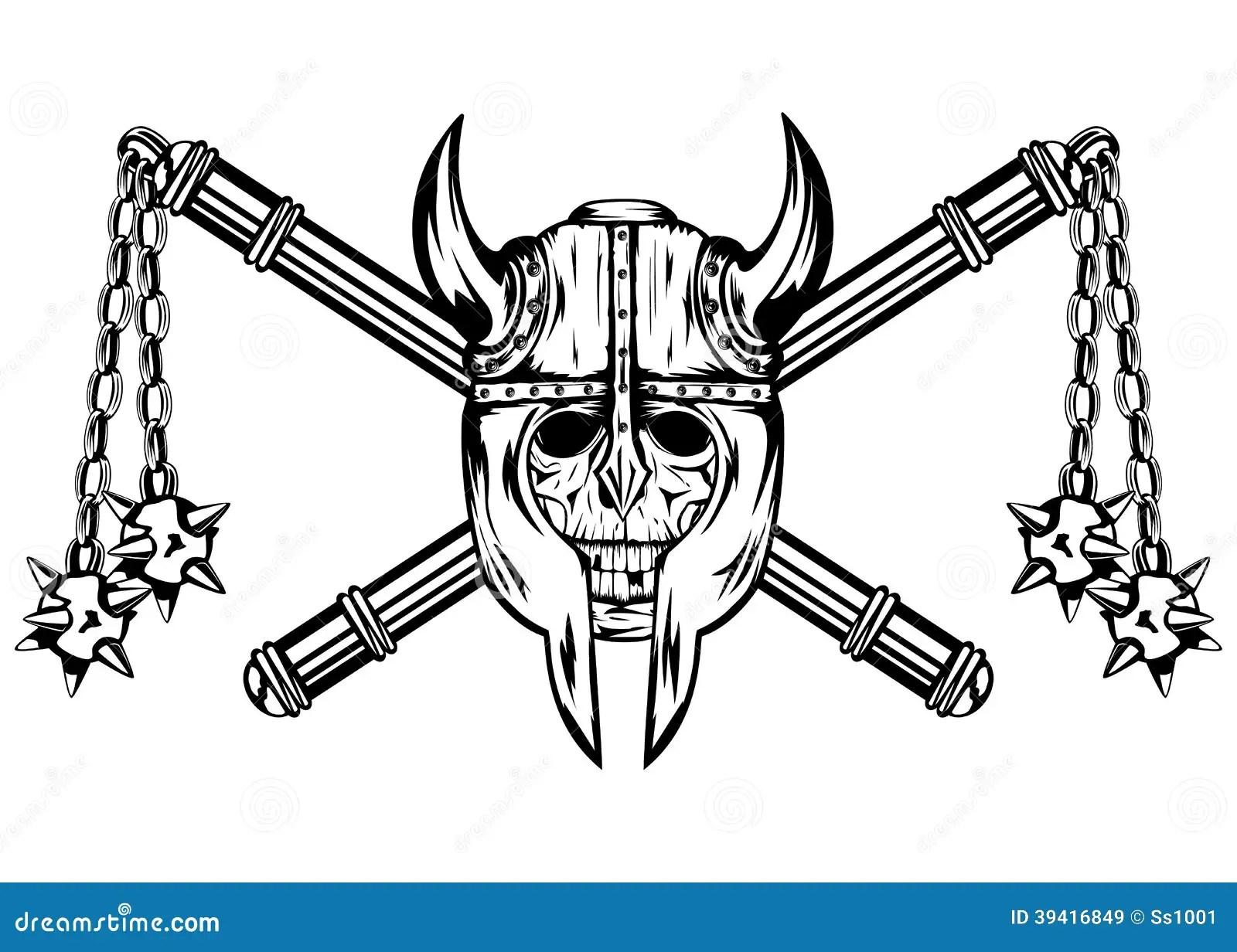Skull In Helmet And Crossed Maces Stock Vector