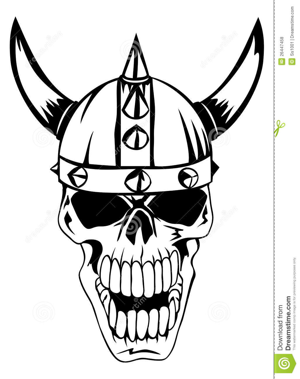 Skull In Helmet Vikings Stock Vector Illustration Of