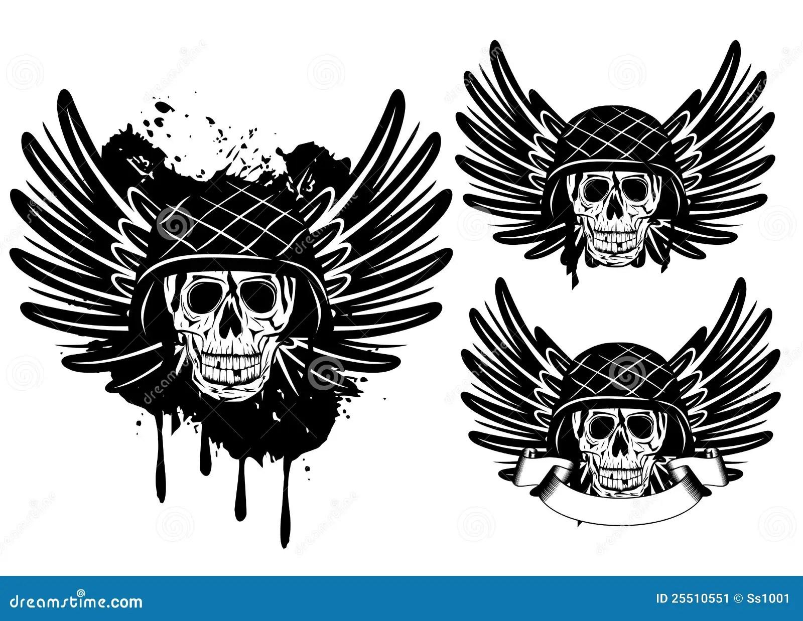 Skull In Helmet And Wings Stock Image