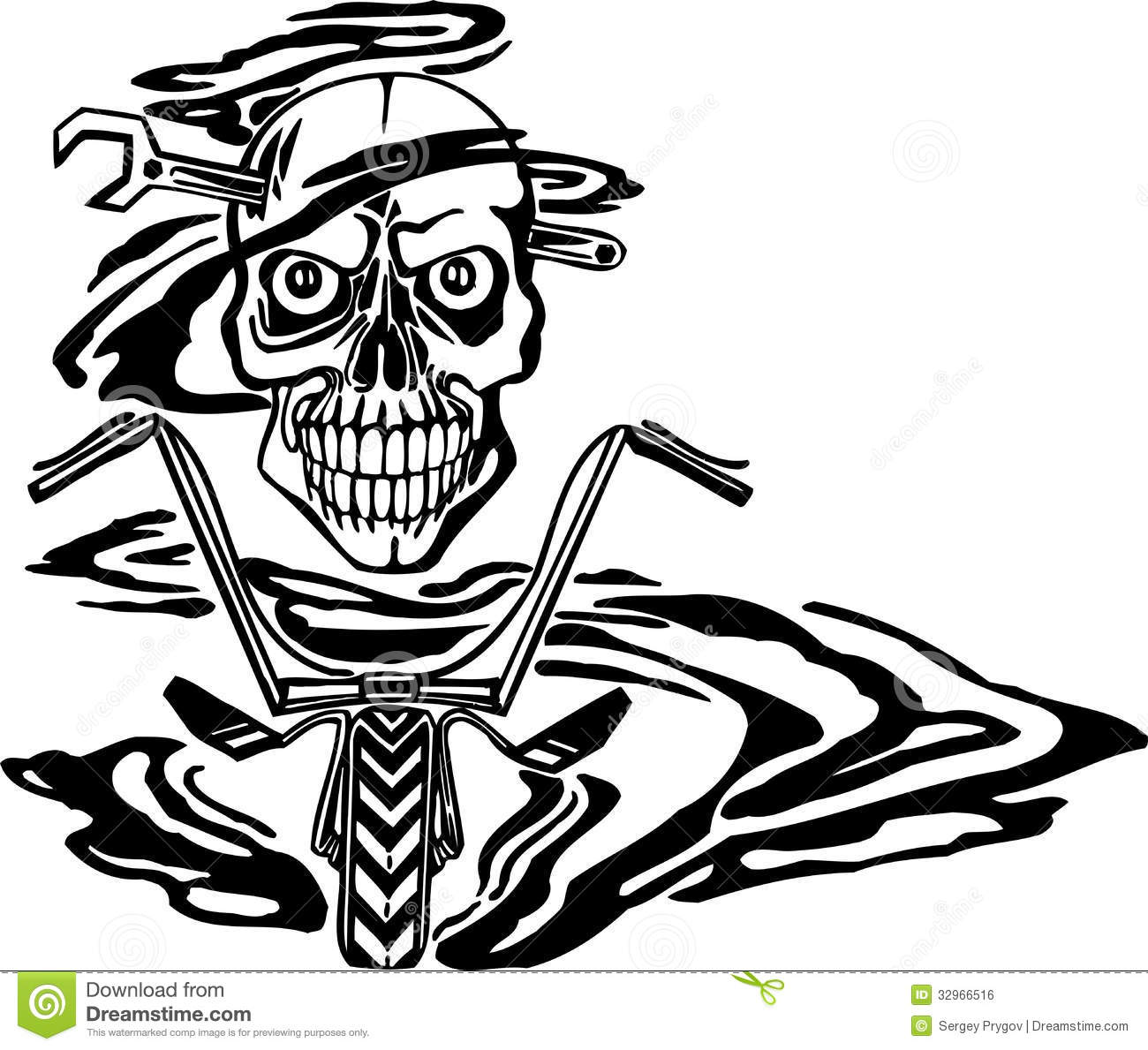 Skull And Motor Vector Illustration Stock Vector