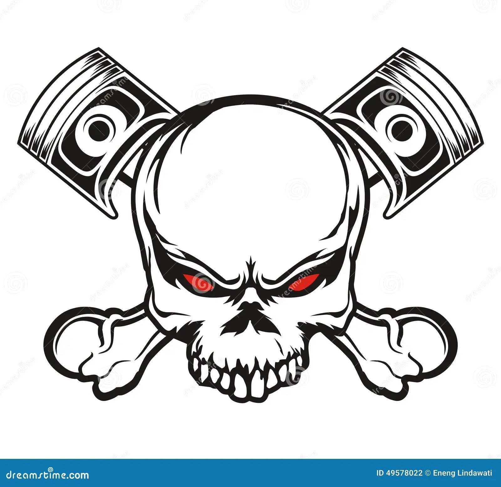 Skull And Piston Stock Illustration