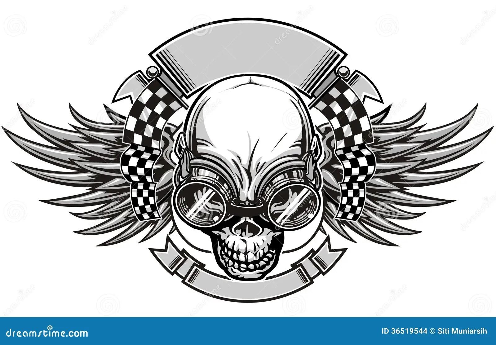 Skull Racing Stock Vector Image Of Crossbones Printing