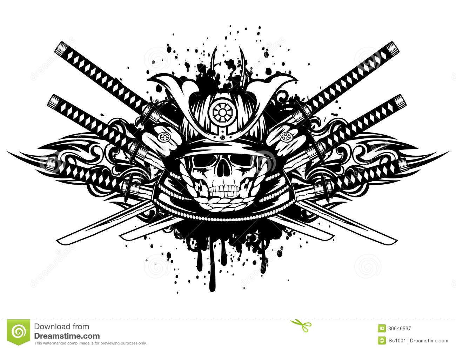 Samurai Helmet And Swords Cartoon Vector