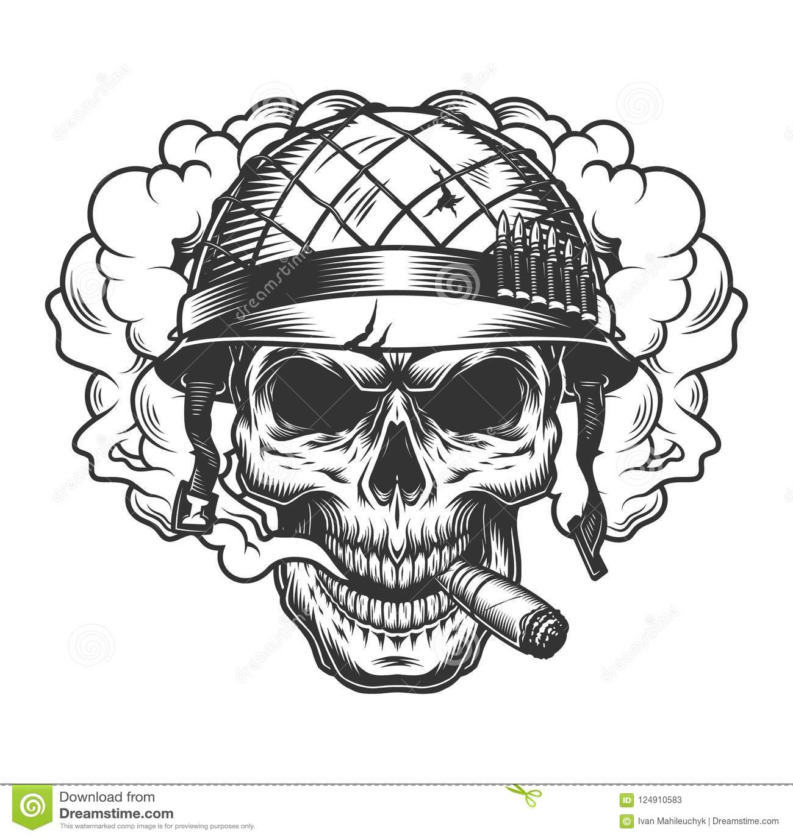 Skull In Smoke Cloud Stock Vector Illustration Of Drawing