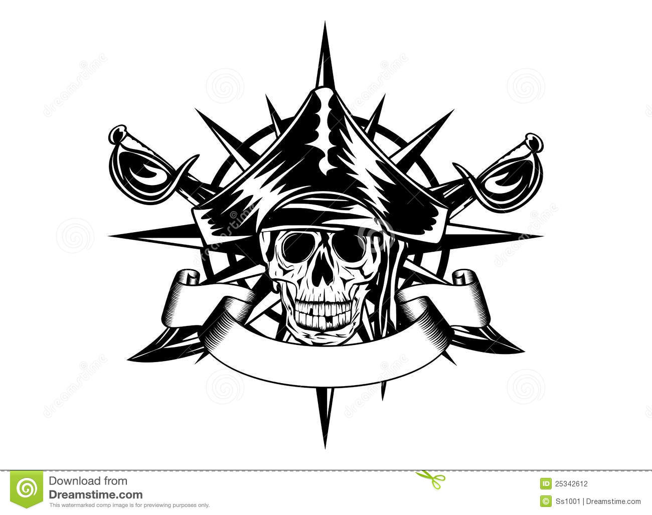 Skull And Wind Rose Stock Vector Illustration Of