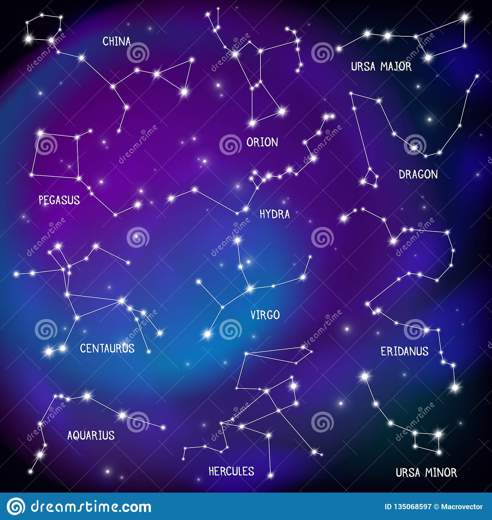 Sky Map Constellations Background Stock Vector