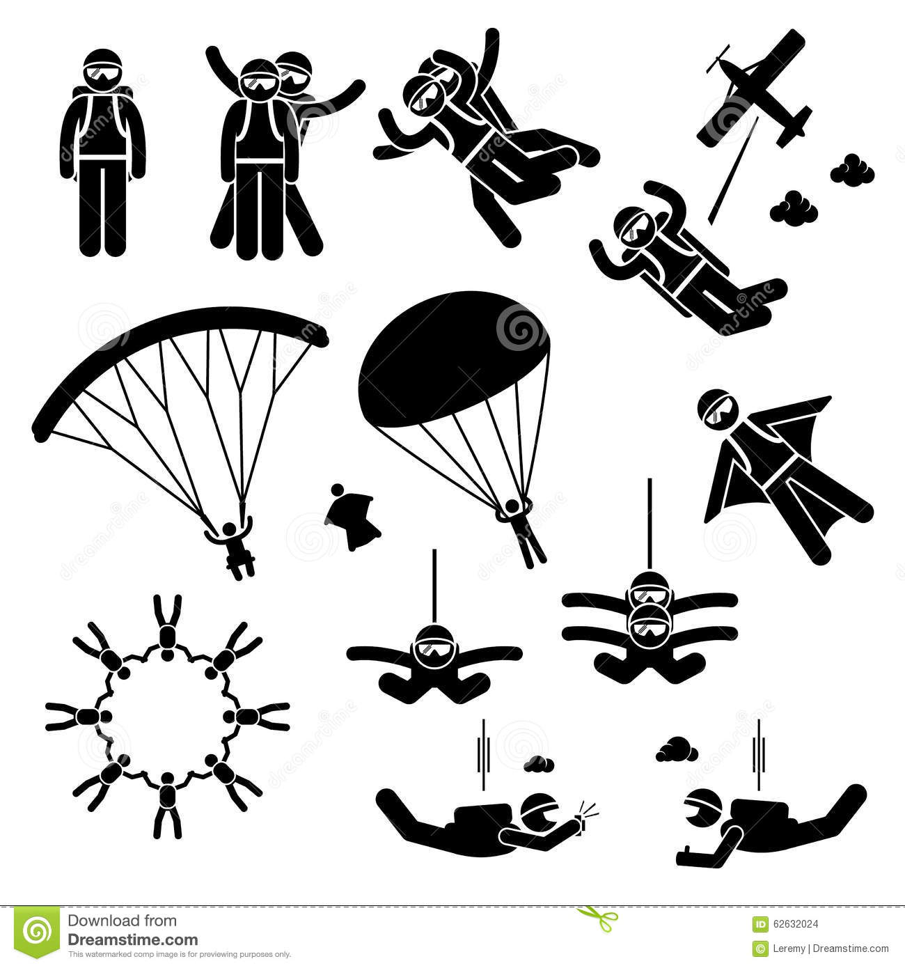 Skydiving Skydives Skydiver Parachute Wingsuit Clipart
