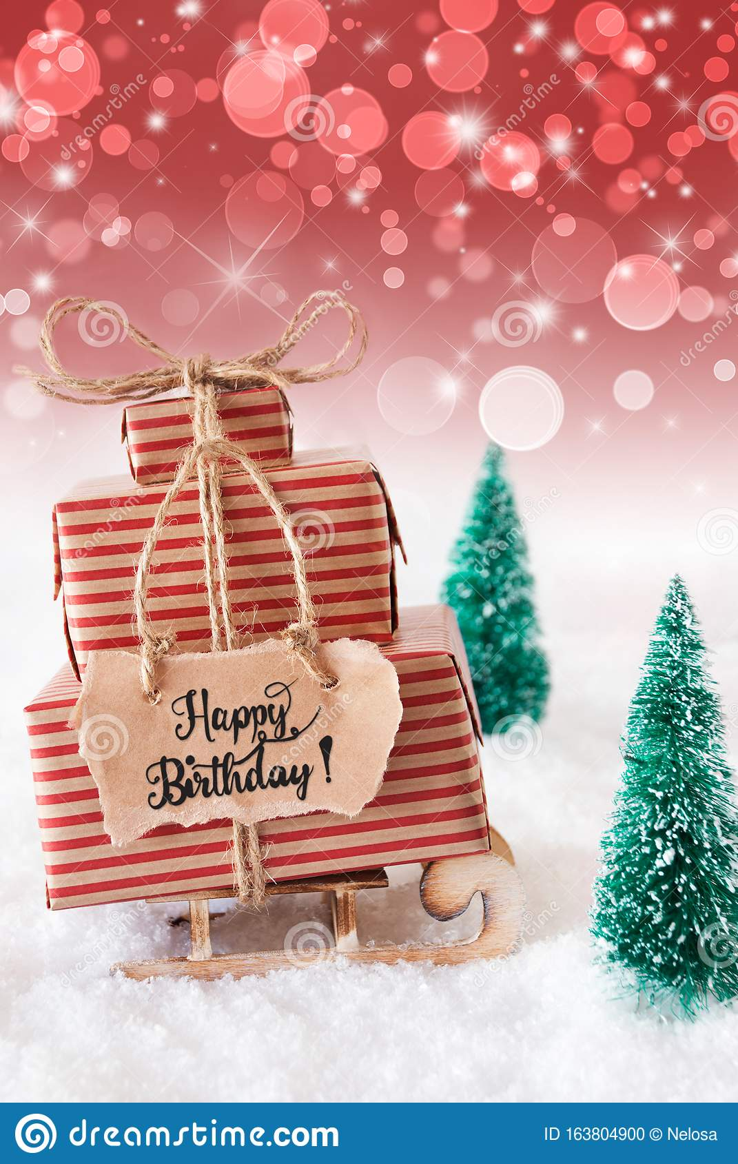 Sled Snow Present Happy Birthday Red Background Stock Photo Image Of Anniversary Merry 163804900