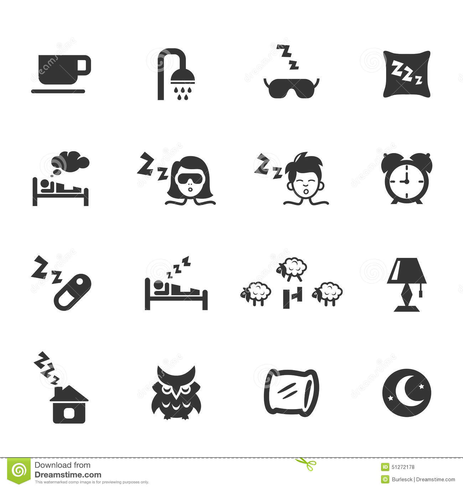 Sleep Icons Stock Vector
