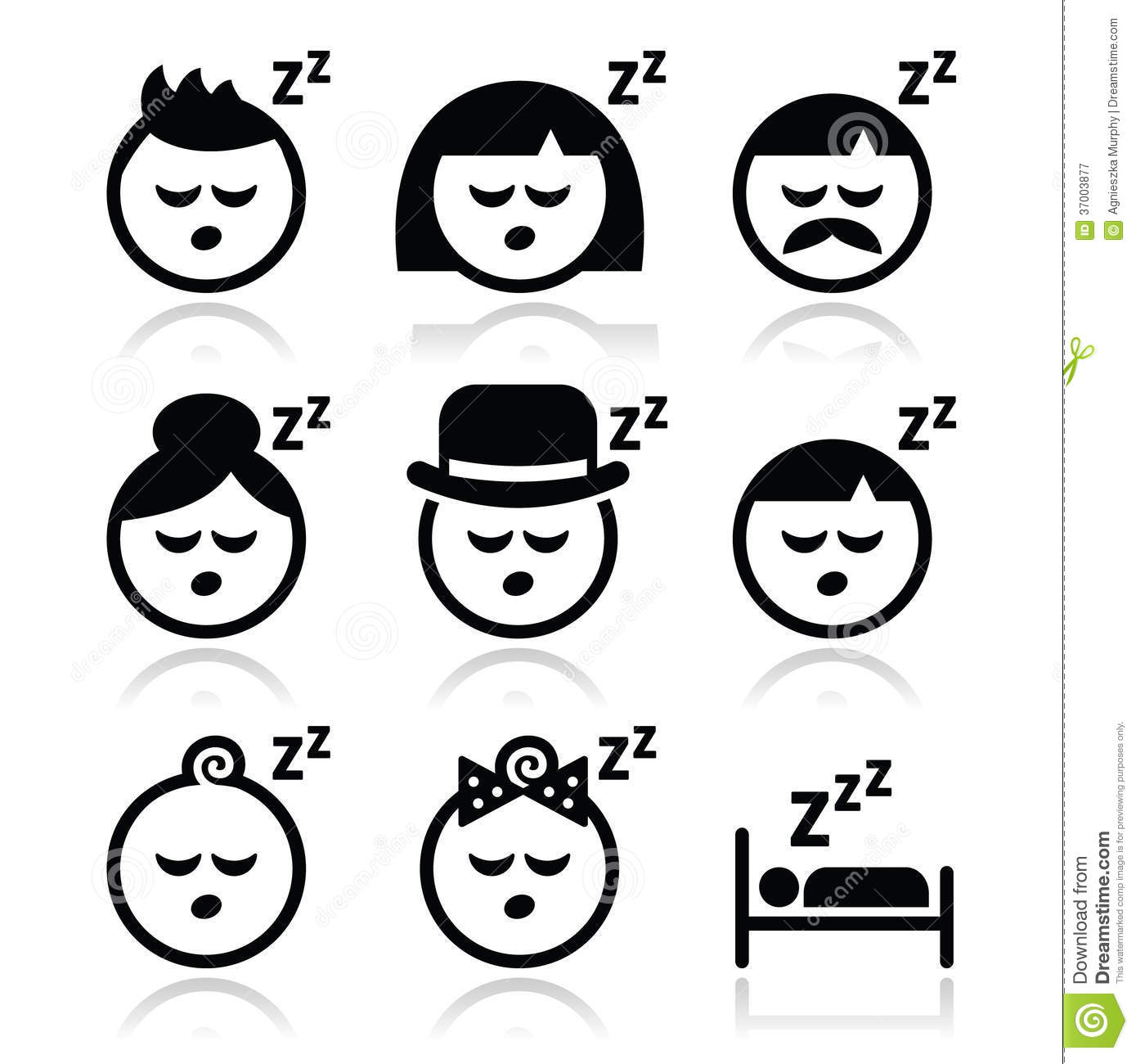 Sleeping Dreaming People Faces Icons Set Cartoon Vector