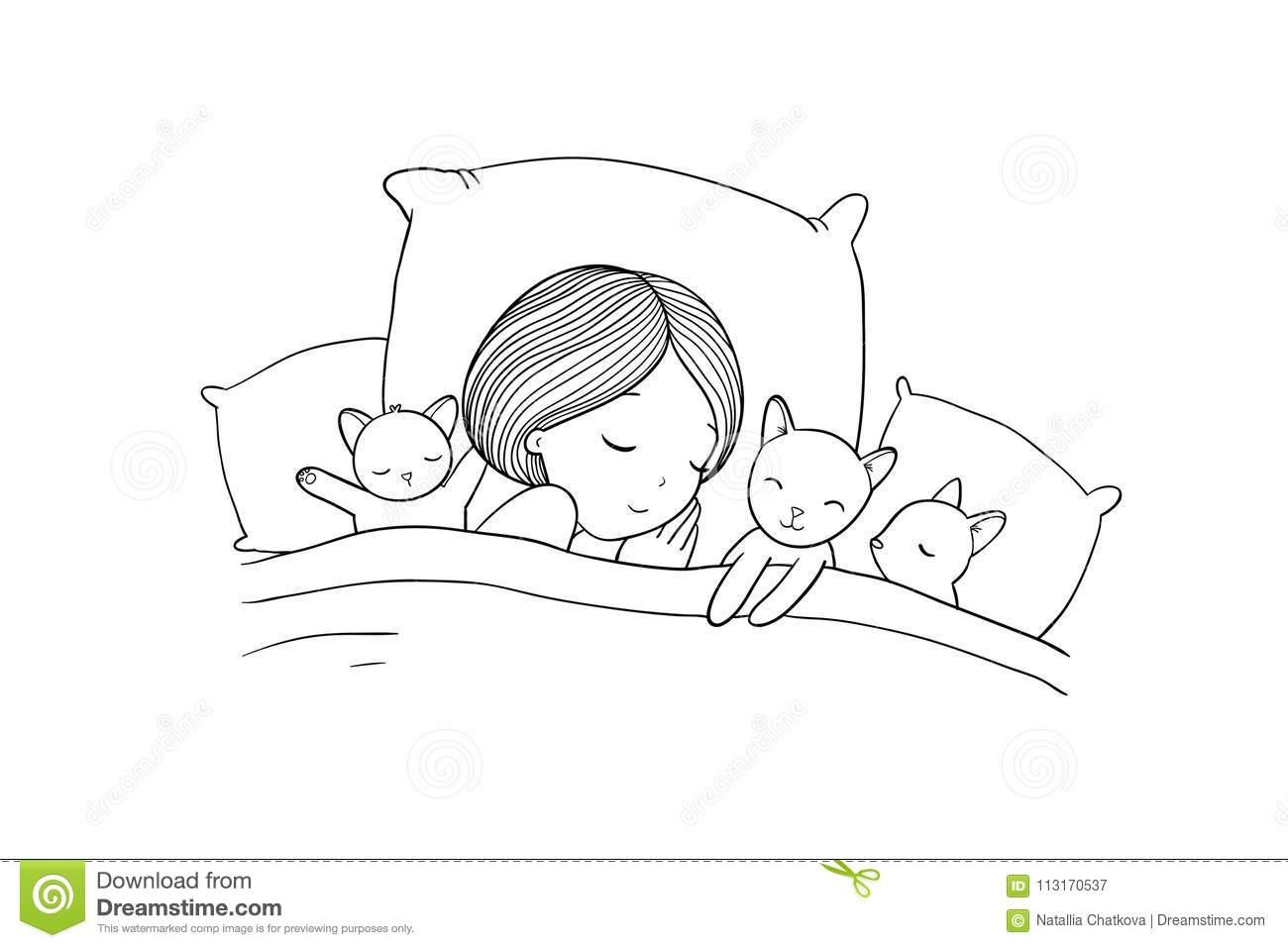 Sleeping Girl And Cat In Bed Good Night Stock Vector