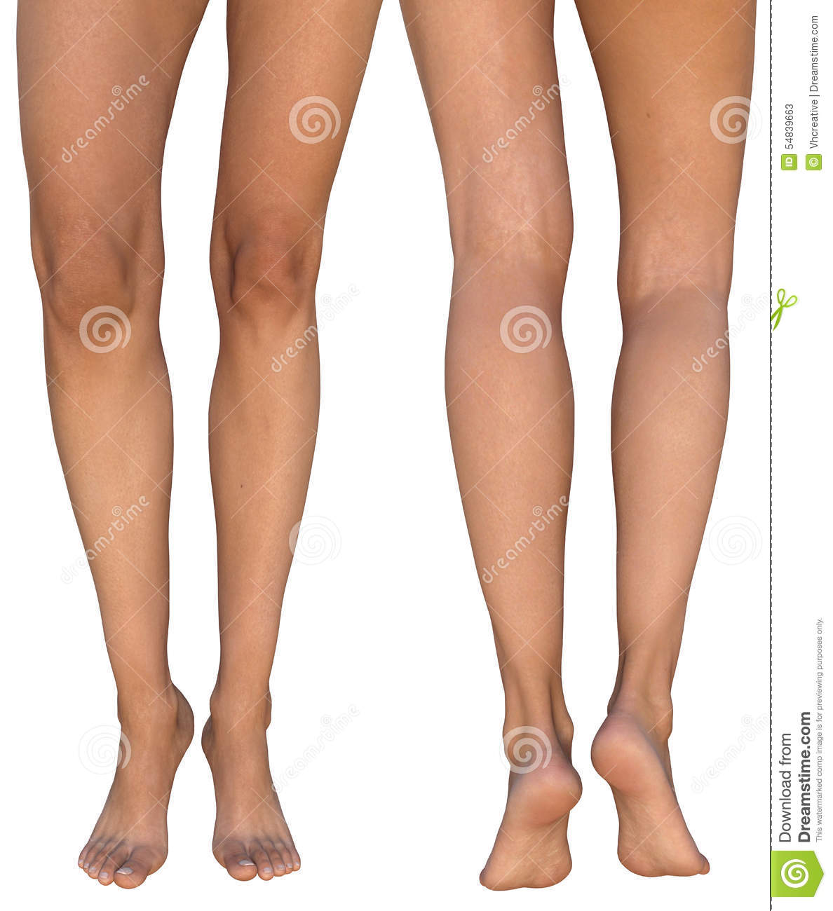 Slightly Bent In Knees Standing On Toes Female Legs Stock