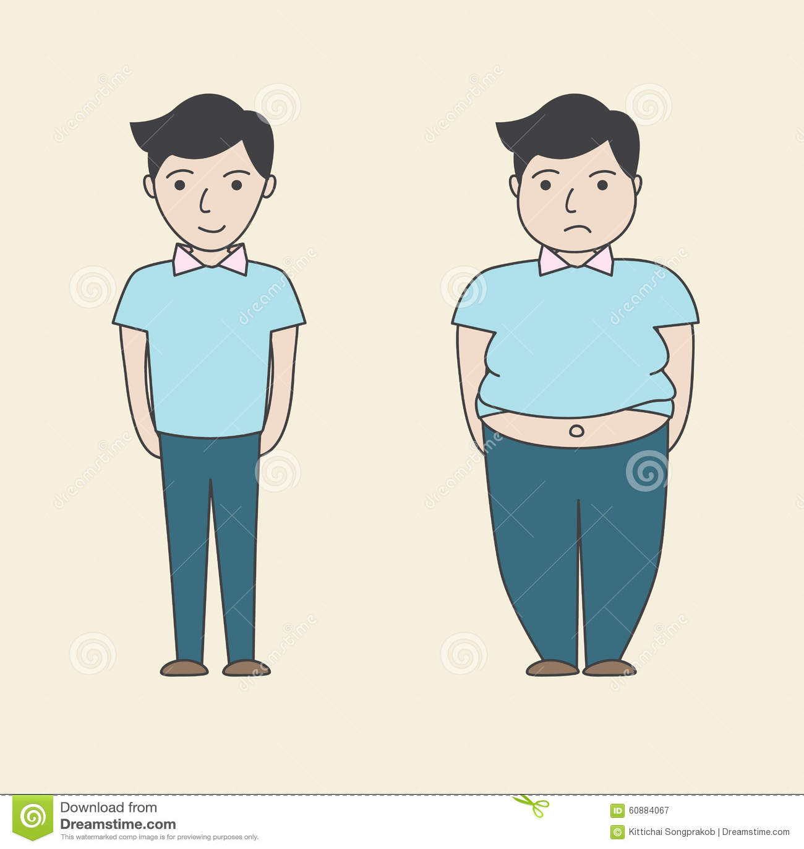 Slim And Fat Cartoon Vector Stock Vector