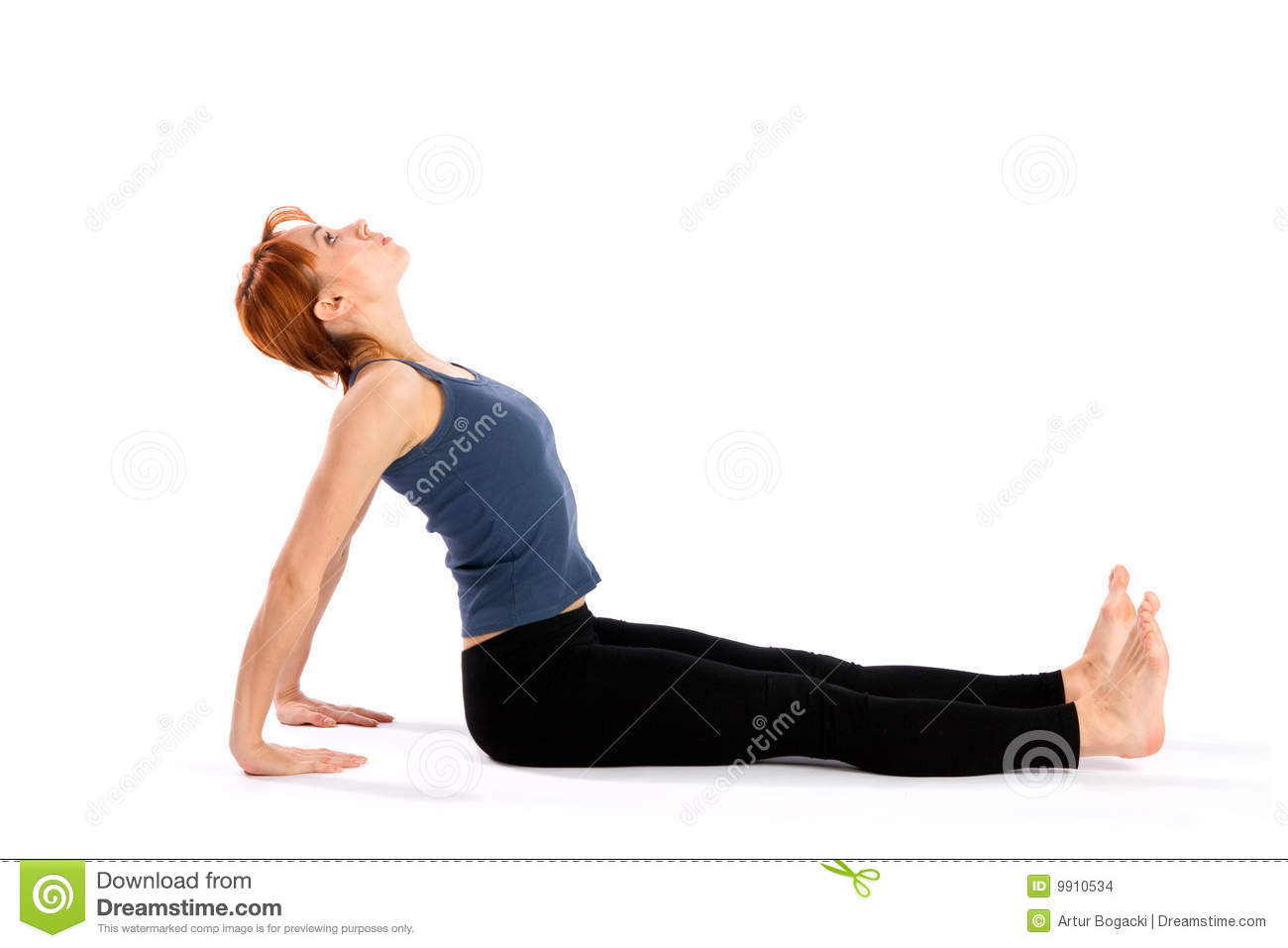 Slim Young Woman Doing Back Stretching Exercise Stock Photo Image Of Posture Fitness 9910534