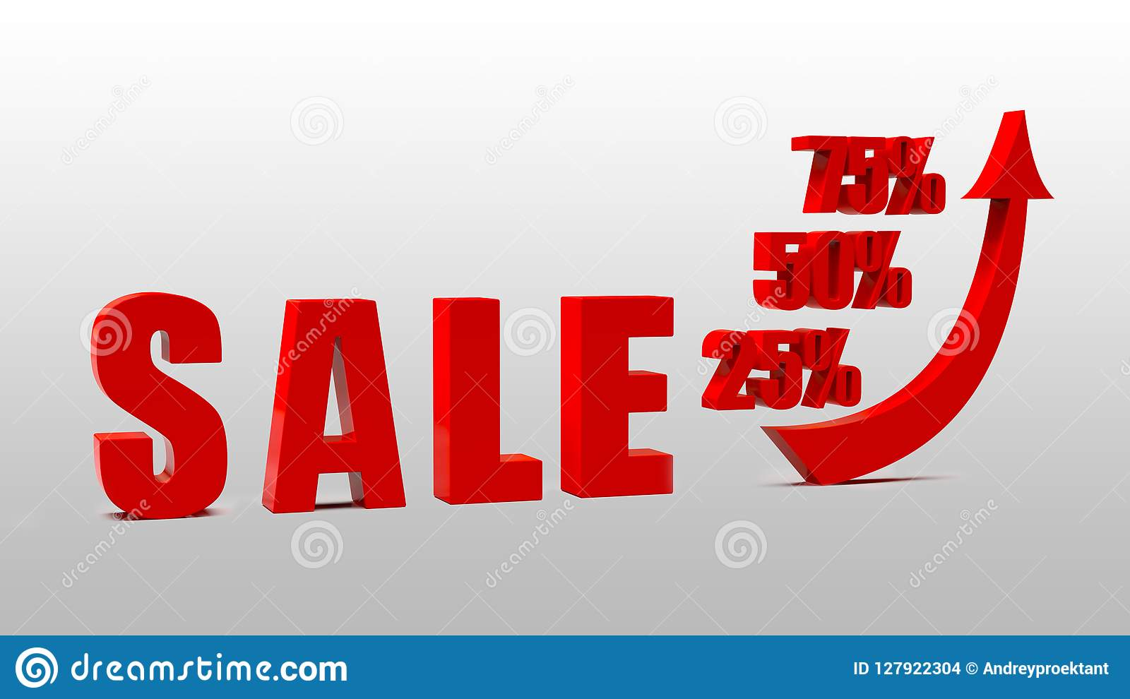 Slogan Sale At Discount Increase In Discount Percent 3d