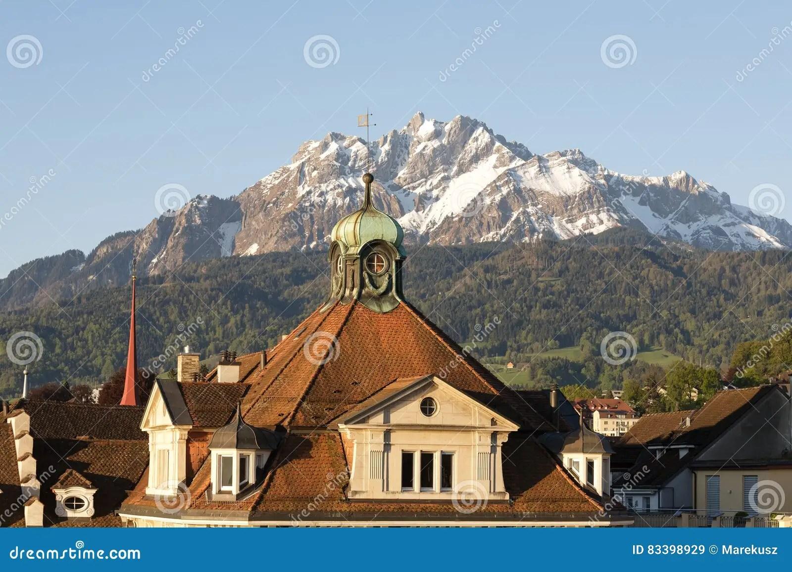 sloping roof and the pilatus peak editorial stock image image of tourist unique 83398929
