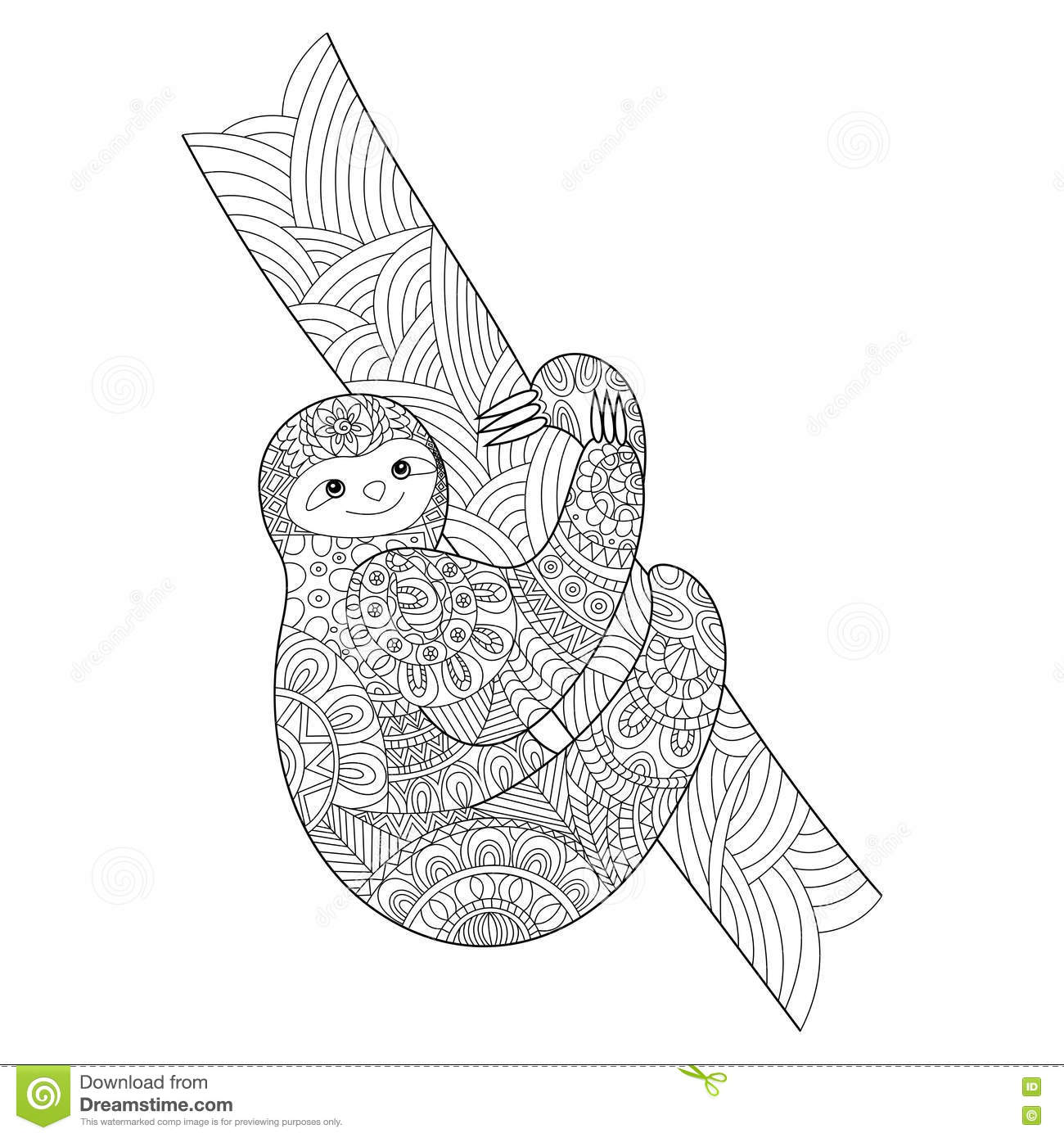 Sloth Coloring Book For Adults Vector Stock Vector