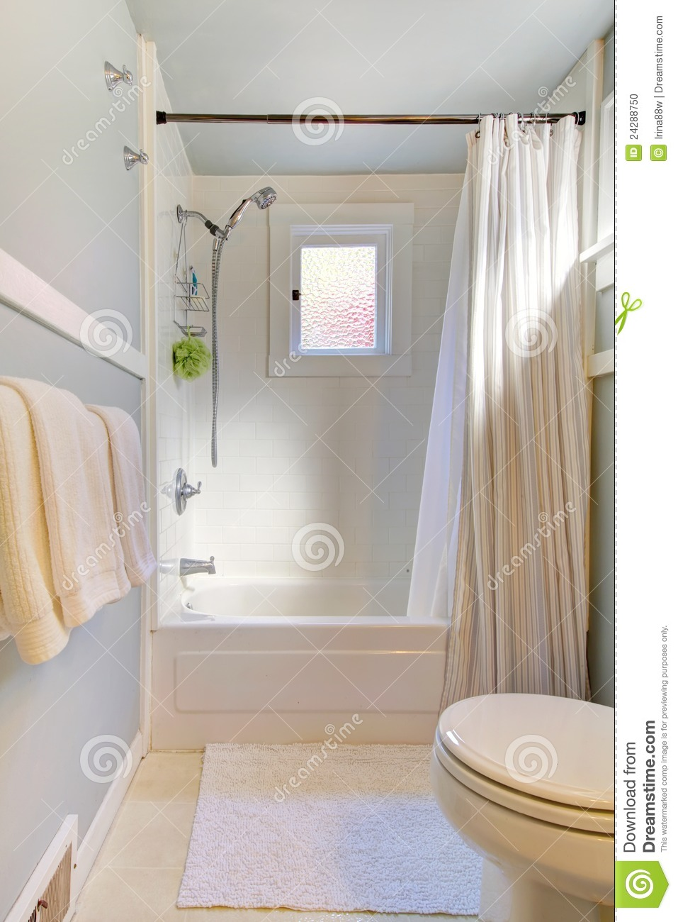 Small Blue Bathroom With Light Grey Blue Stock Photo Image 24288750