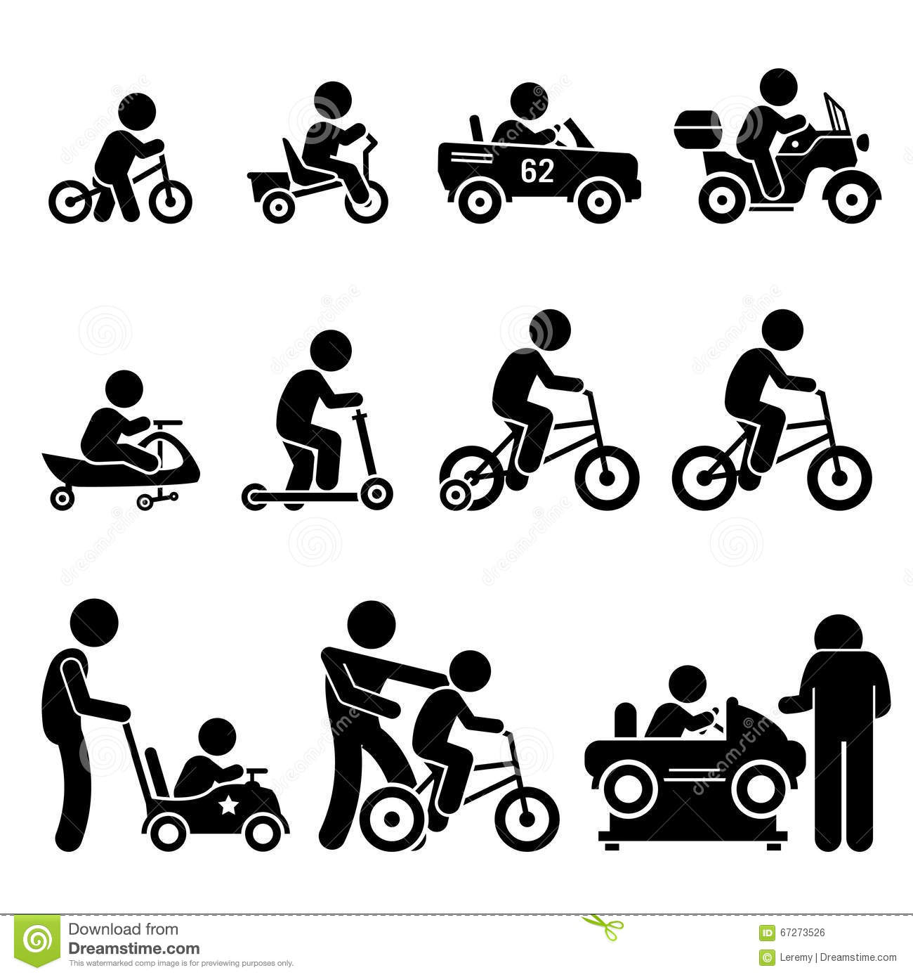 Small Children Riding Toy Vehicles And Bicycle Set Clipart