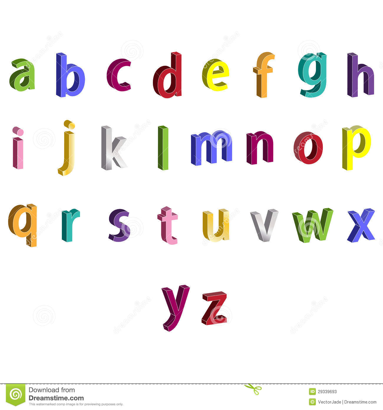 Small Colorful Alphabet 3d Letters Stock Illustration