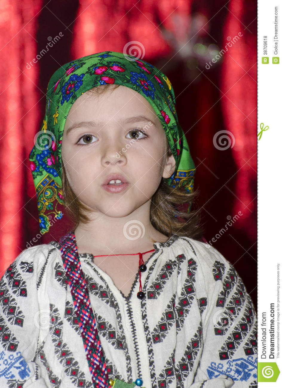Small Girl In National Romanian Costume Royalty Free Stock