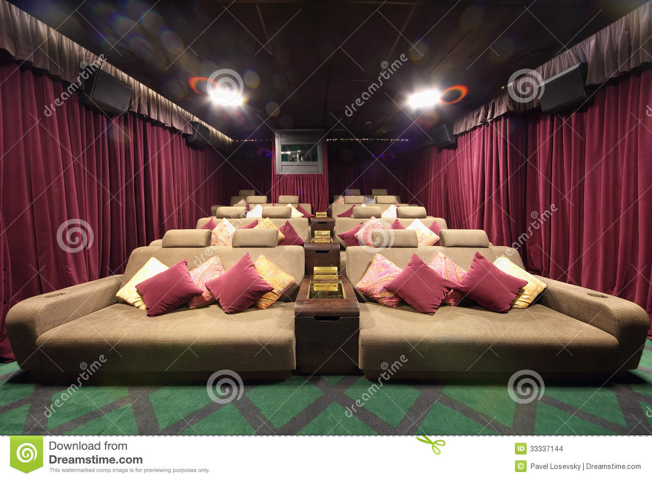 Small Hall Of Cinema With Soft Couches With Pillows Stock Images Image 33337144