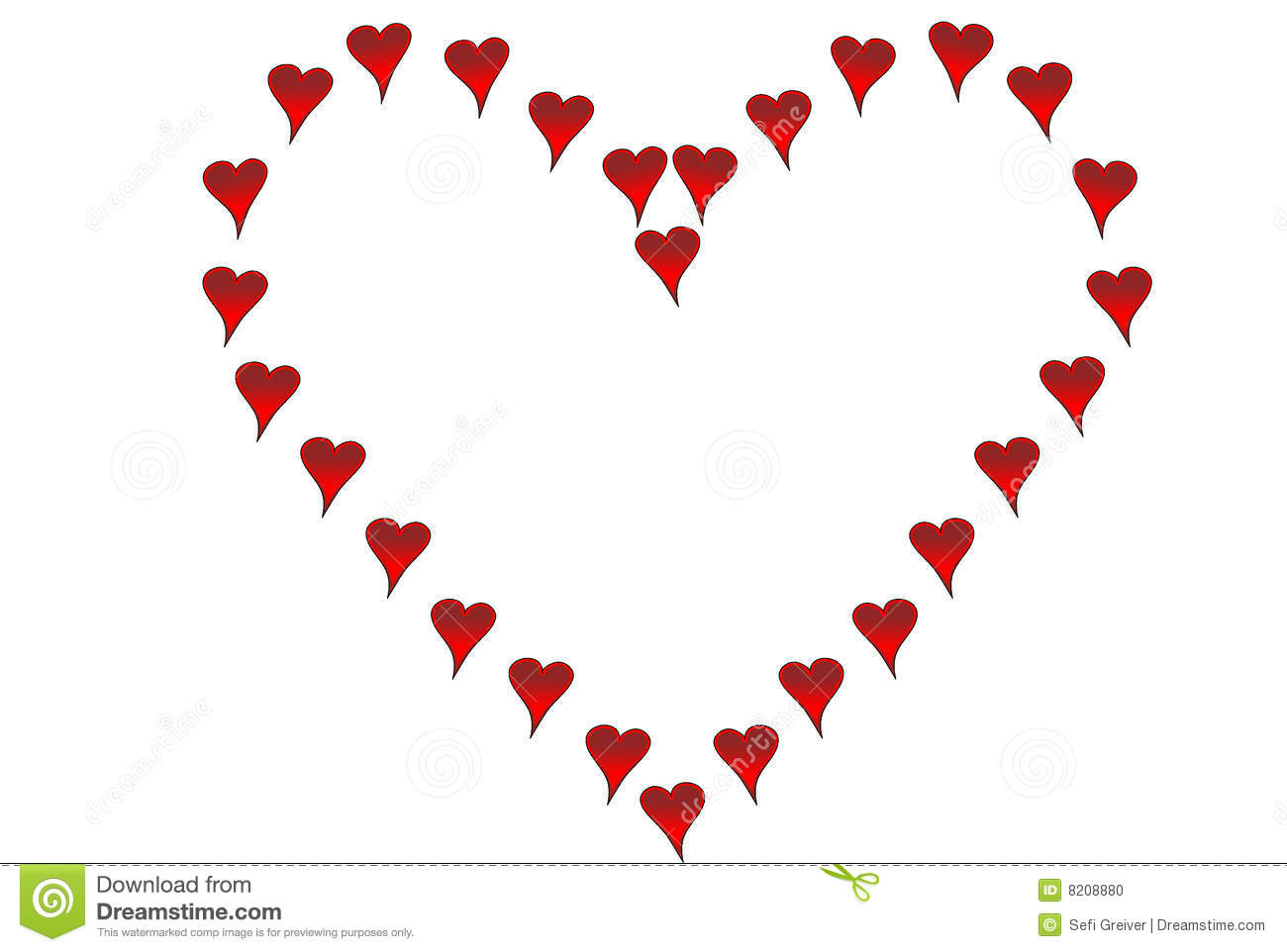 Small Hearts Shaped Like Big Heart Stock Illustration