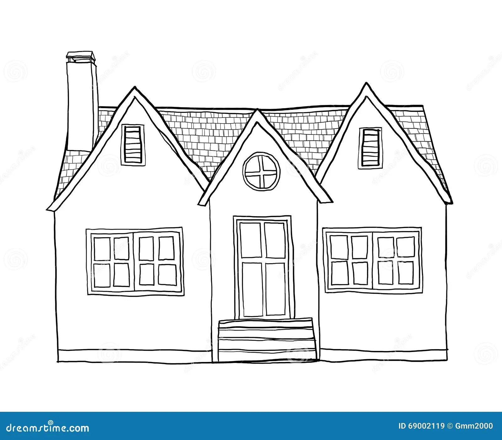 Small House Cute Lineart Illustration Stock Illustration