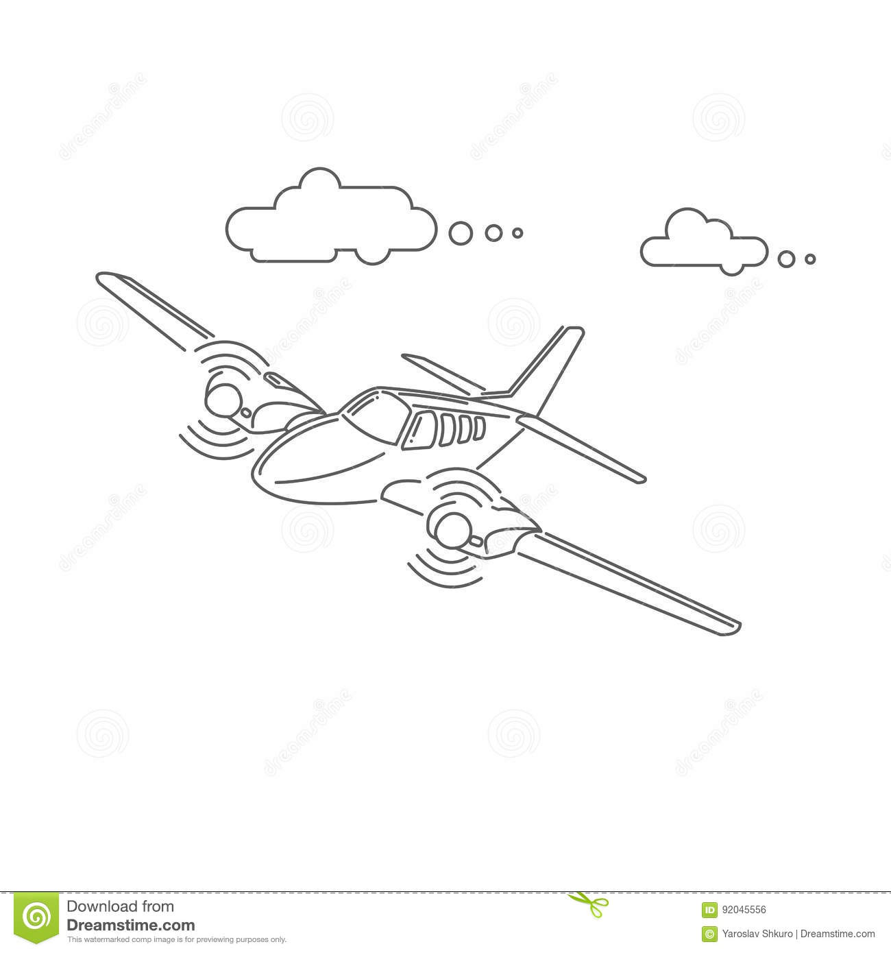 Small Plane Vector Illustration Twin Engine Propelled