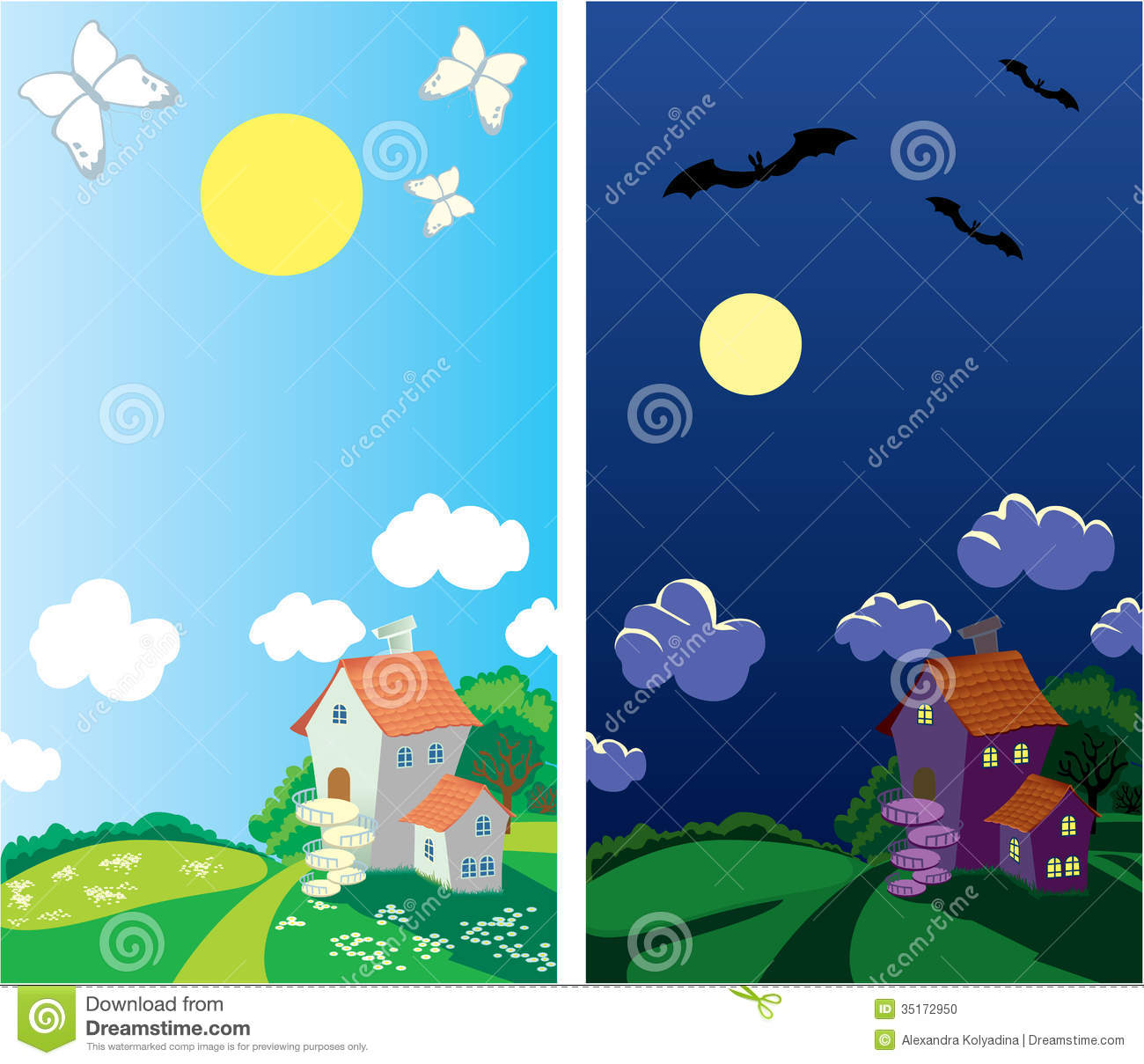 Small Rural House Day And Night Stock Vector