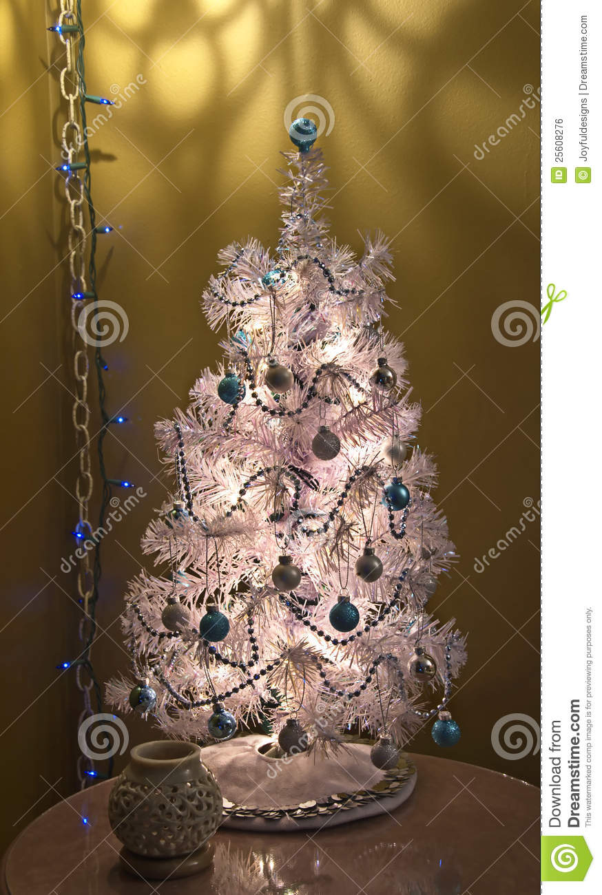 Small Silver And Blue Table Top Christmas Tree Royalty