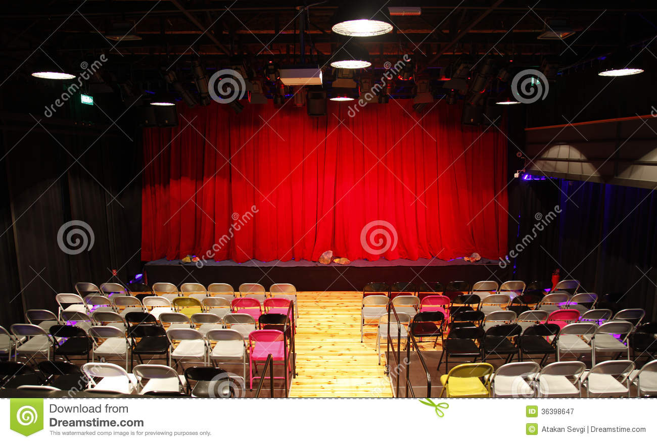 Small Theatre Hall With Red Curtains Stage And Chairs Royalty Free Stock Photography Image