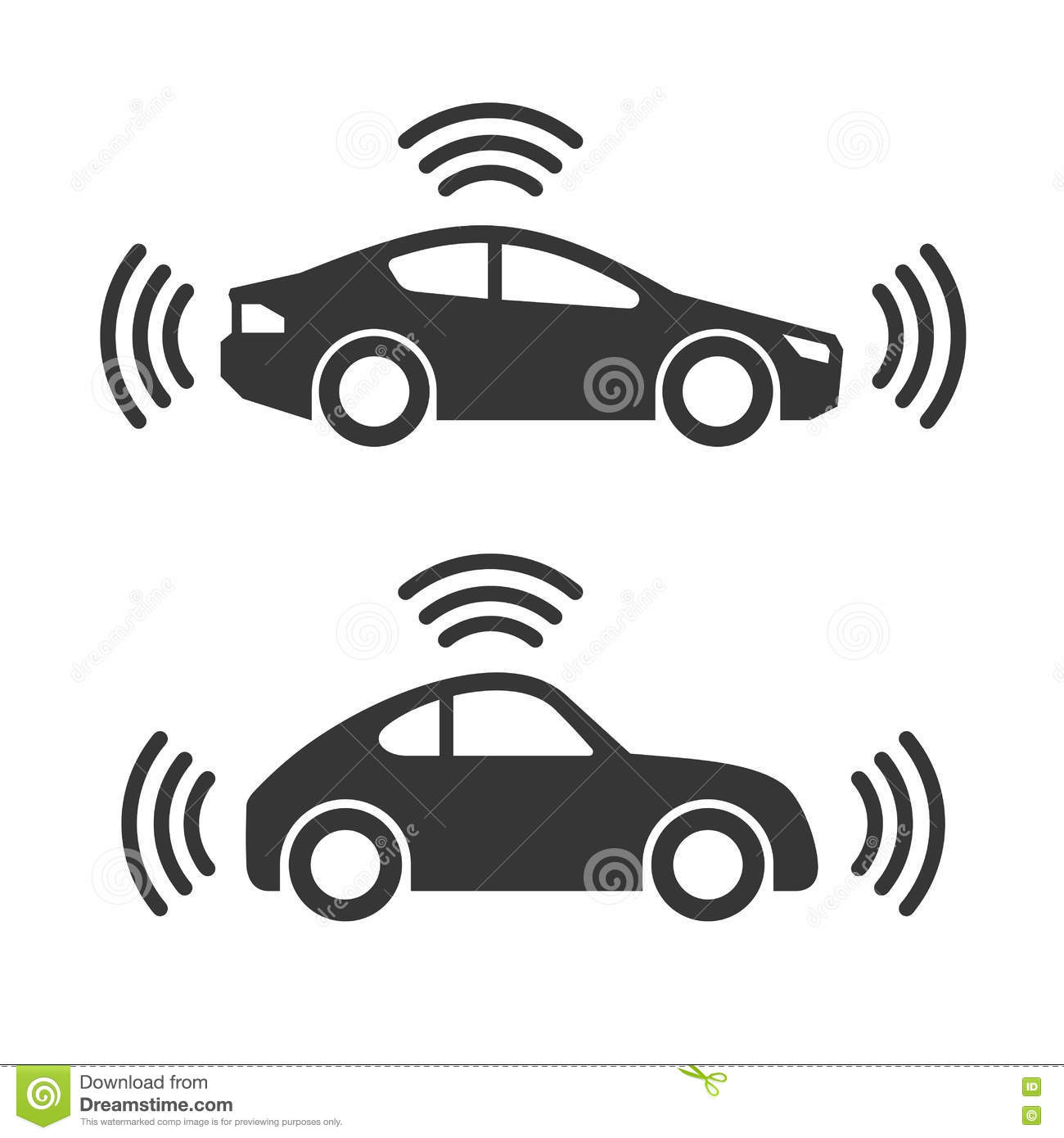 Smart Car Icon Set Stock Vector Illustration Of Security