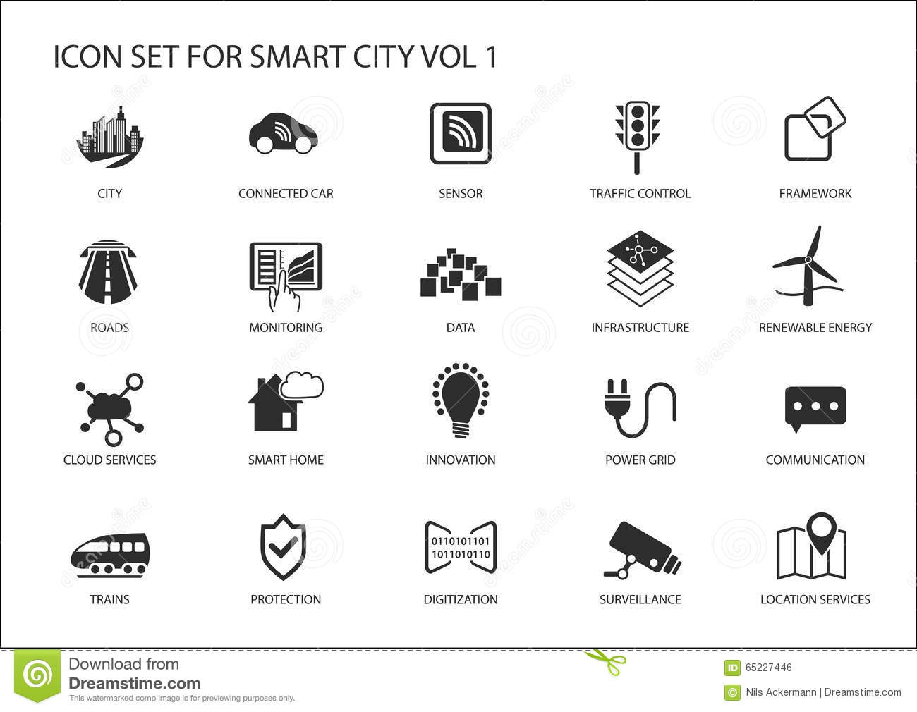 Smart City Icons And Symbols Stock Vector