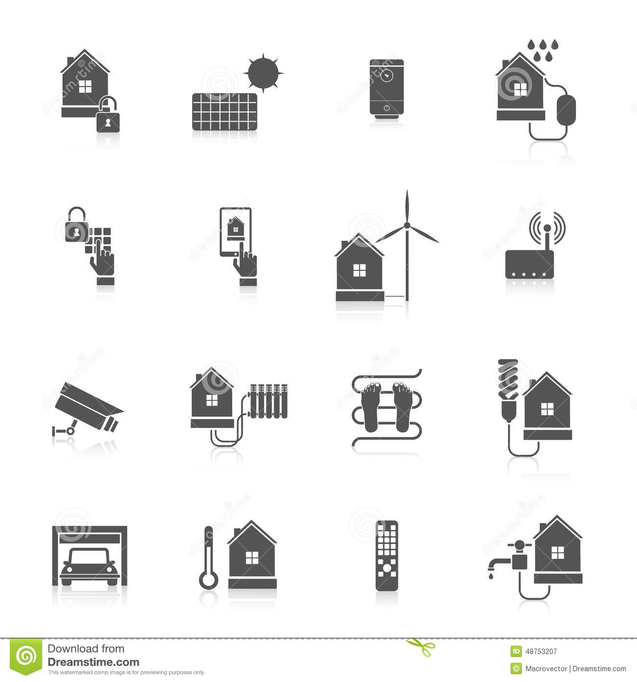 Smart Home Icon Set Stock Vector Image Of Kitchen House