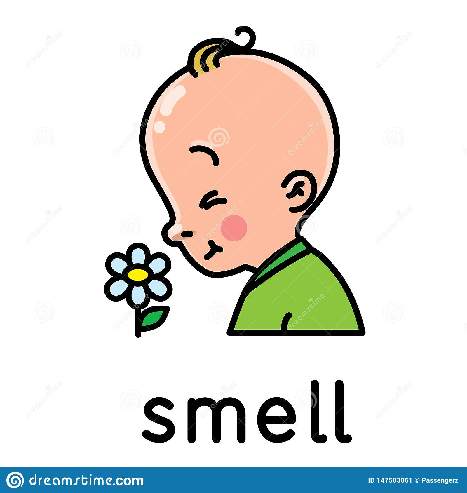 Smell Icon Of One Of Five Senses Stock Vector