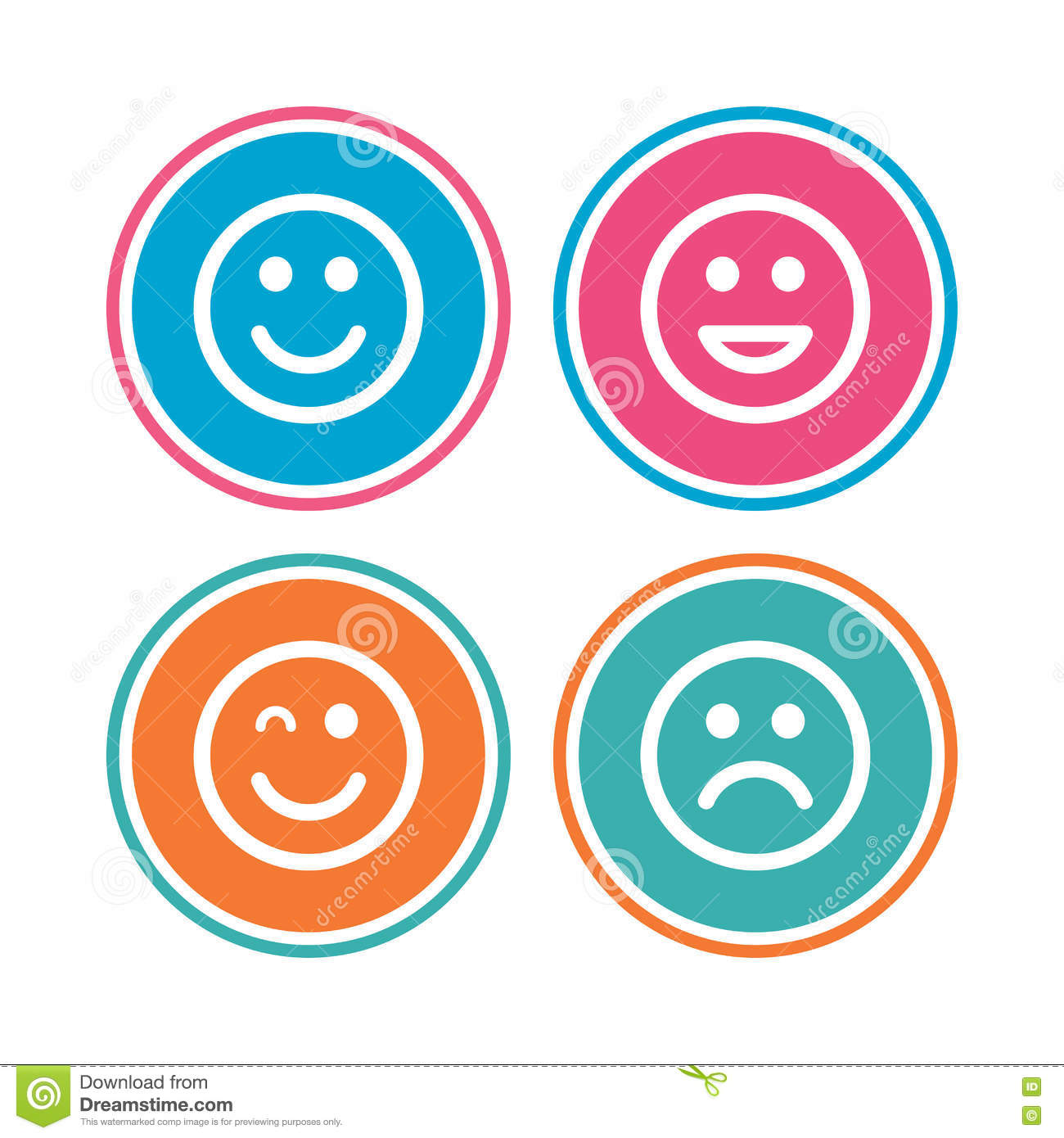 Smile Icons Happy Sad And Wink Faces Stock Vector