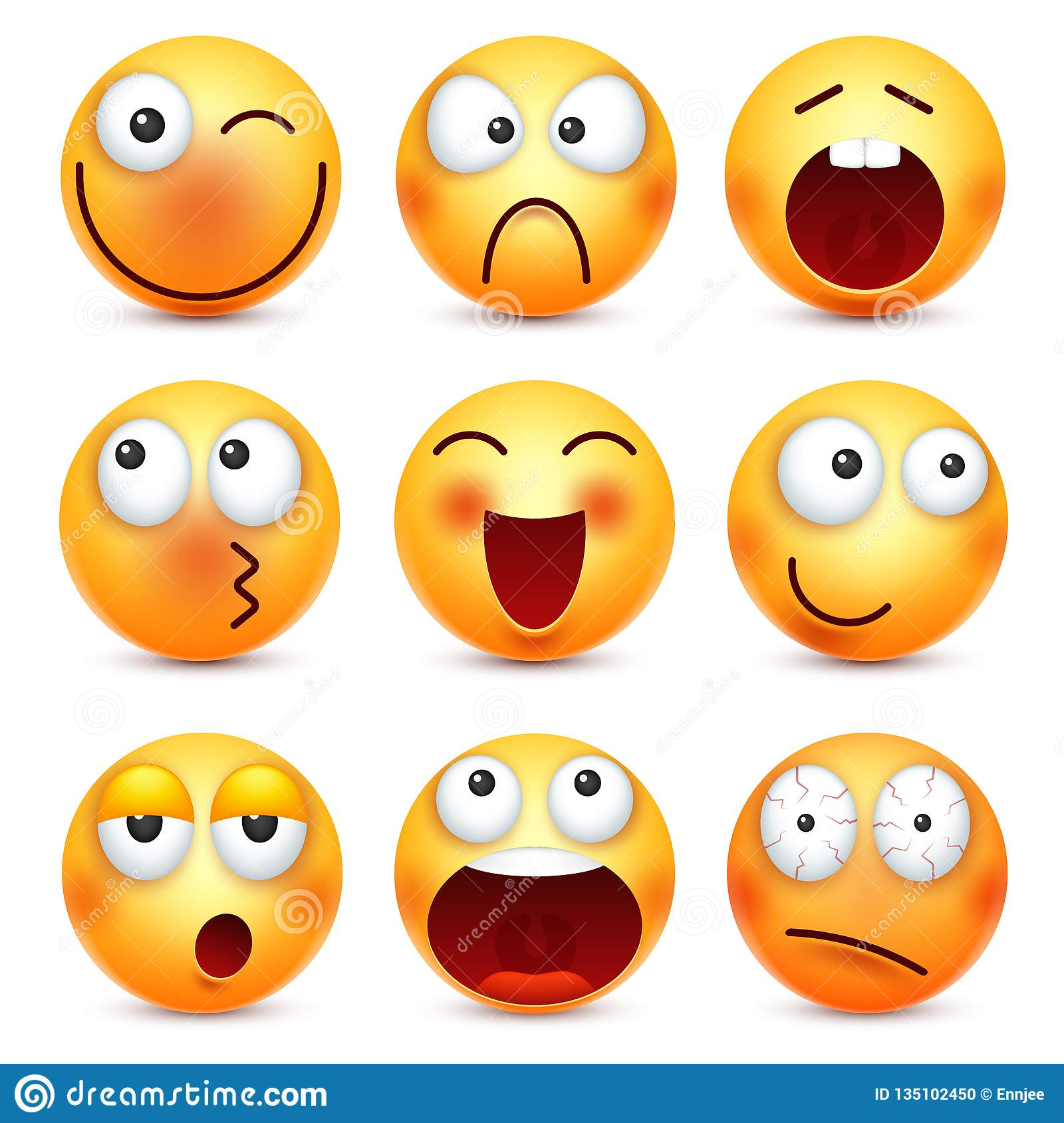 Smiley Emoticon Set Yellow Face With Emotions Mood