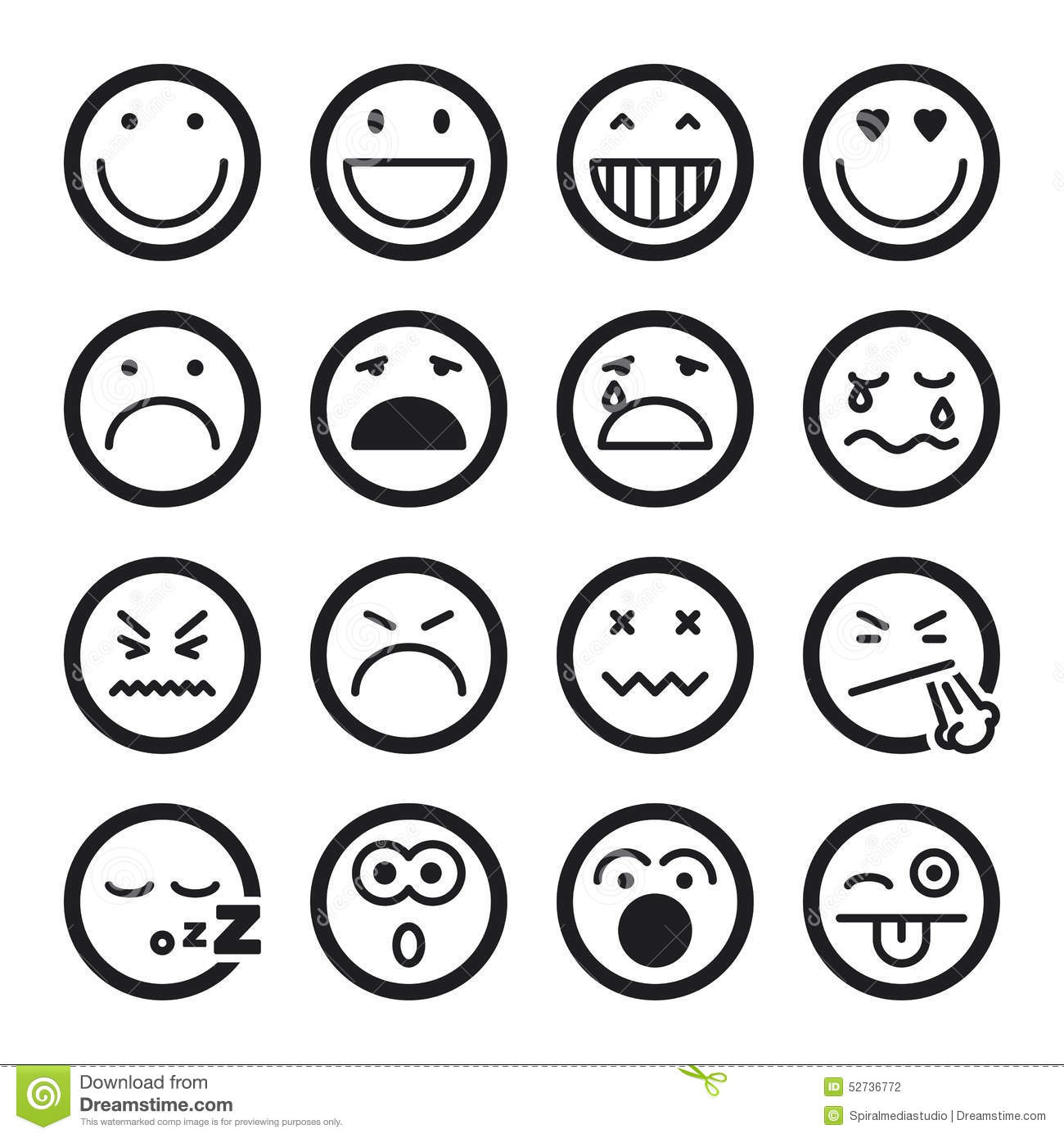 Smiley Flat Icons Black Stock Vector Illustration Of